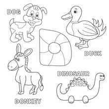 Kids Alphabet Coloring Book Page With Outlined Clip Arts. Letter D - Dinosaur, Dog, Duck, Donkey