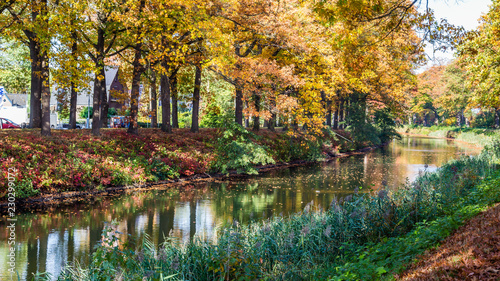 Photo Autumn colors along the  Apeldoornse channel near Eerbeek in Gelderland, Netherl