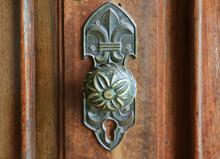 Vintage Decorative Door Knob On The Brown Wooden Door, Chachapoyas, Northern Peru