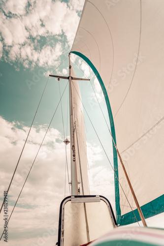 Garden Poster Sailing Detailed closeup of sail on sailboat