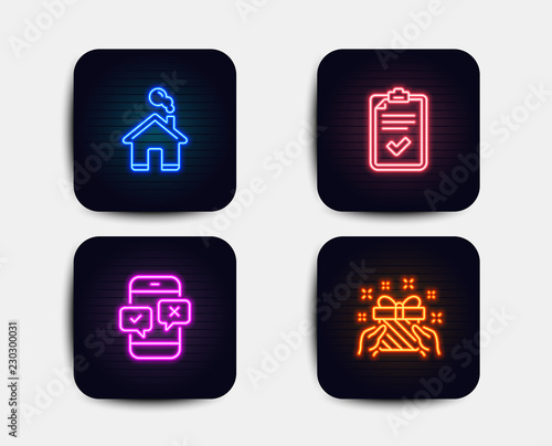 Neon glow lights  Set of Checklist, Home and Phone survey