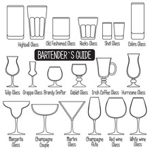Drink Glasses With Titles, Bla...