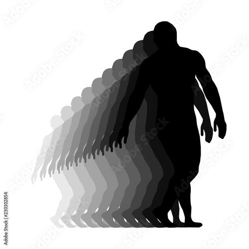 Fotografie, Obraz  Wrestler isolated silhouette vector EPS 10