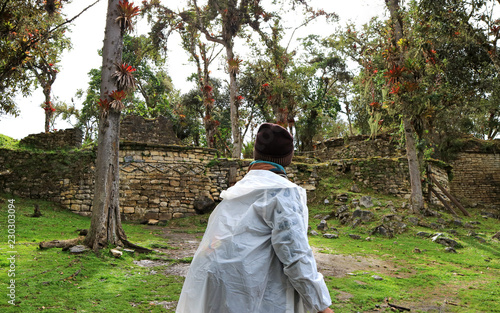 Fotobehang Zuid-Amerika land A Tourist Exploring the Ruins Inside Kuelap Ancient Fortress, the Lost City in Amazonas Region, Northern Peru, South America