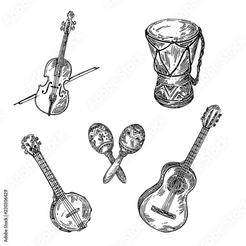 Set of musical instruments Canvas Print