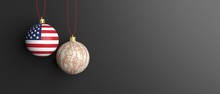 Christmas Balls With Military Pattern And USA Flag Isolated On Black Background. 3d Illustration
