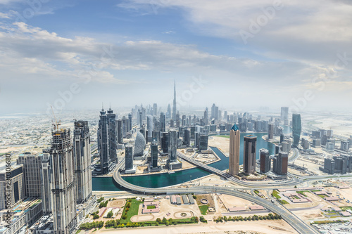 Tuinposter Stad gebouw Aerial view of modern skyscrapers, Dubai, UAE.