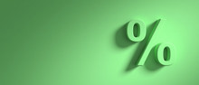 Percentage Sign On Green Wall Background, Banner, Copy Space. 3d Illustration