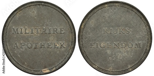 Canvas Prints Pharmacy The Netherlands Dutch zinc token signs Military Apotheek and State Property,