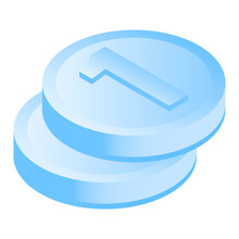 Stack Coin Icon. Isometric Of Stack Coin Vector Icon For Web Design Isolated On White Background