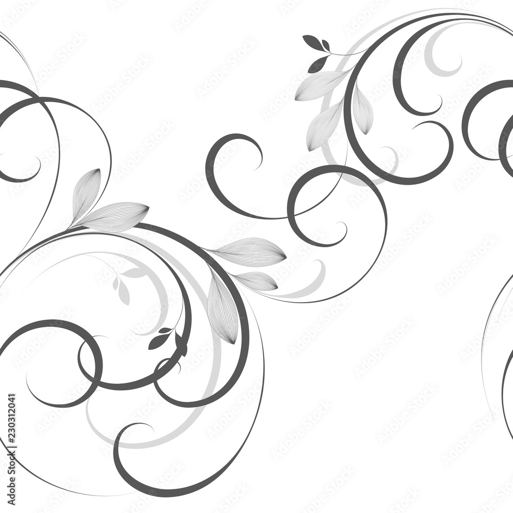 Fototapety, obrazy: Beautiful seamless  floral background with hand-drawn leaves and curls.