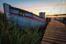Fischerboot Im Fjordhafen