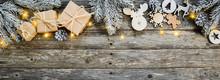 Christmas Wooden Natural Decoration Ornament Wide Horizontal Banner With Copyspace
