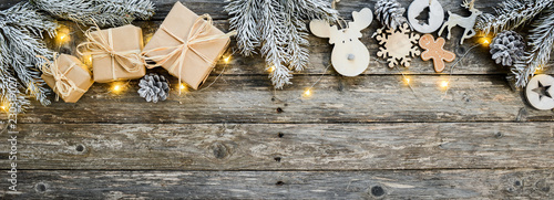 Foto op Canvas Kerstmis christmas wooden natural decoration ornament wide horizontal banner with copyspace