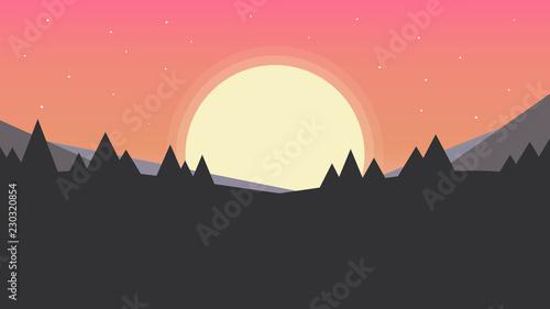 Cadres-photo bureau Bleu vert Simple sunset landscape background (16x9). Minimalist design