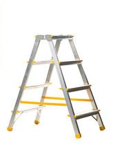 Single Aluminum Folding Metal Step Ladder Isolated On White