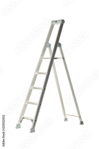 Obraz na plátně Single aluminum folding metal step ladder isolated on white
