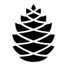 Simple Pine Cone Icon. Black S...