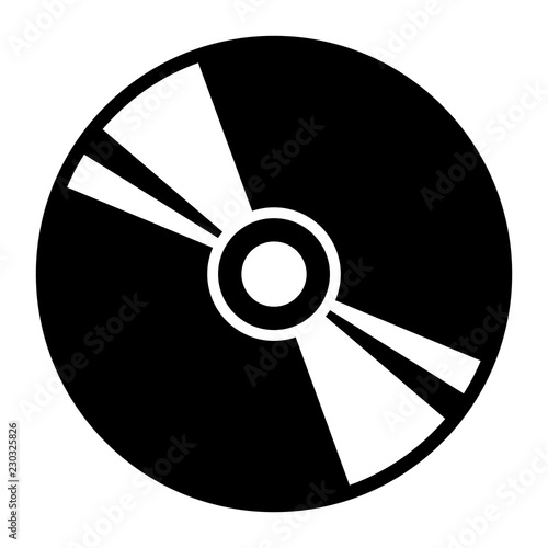 Fotografia, Obraz Simple CD icon. Disc icon. Black silhouette. Isolated on white