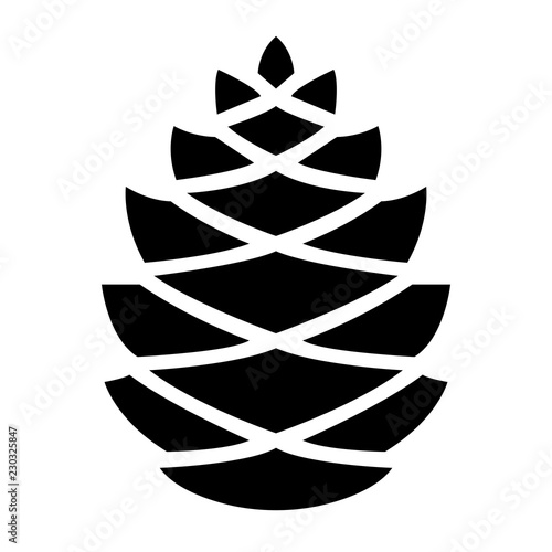 Cuadros en Lienzo Simple pine cone icon. Black silhouette. Isolated on white