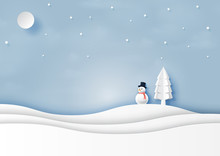 Snow And Winter Season With Snowman And Christmas Tree For Merry Christmas And Happy New Year Paper Art Style.Vector Illustration.