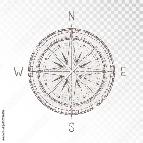 Vector illustration with a vintage textured compass or wind rose and grunge texture elements on transparent background. With basic directions North, East, South and West. Wall mural