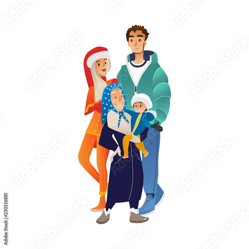 Canvas Prints Superheroes Vector illustration of winter family portrait with different generations in cartoon style - grandmother, parents and grandchild in warm clothes smiling and hugging isolated on white background.