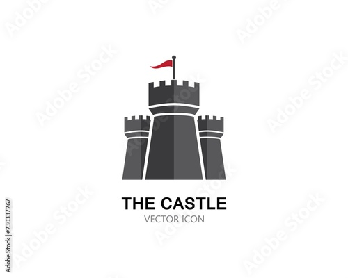 Vászonkép Castle Logo vector icon illustration design