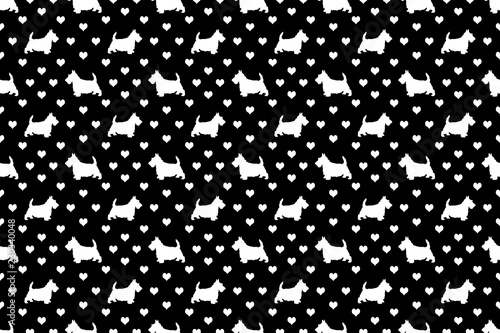 Fotografie, Obraz  A seamless pattern of Scottish Terriers and hearts