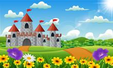 Cartoon Illustration Of Castle On Hill Landscape