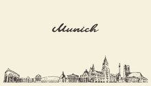 Munich Skyline, Germany Vector City Drawn Sketch