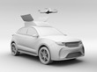 Clay rendering of quadcopter drone take off from orange electric rescue SUV. 3D rendering image.