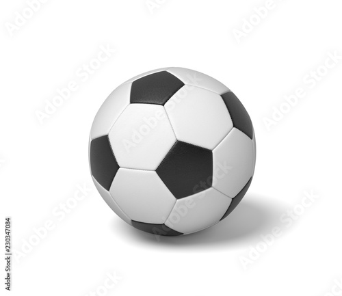 Valokuva 3d rendering of a single black and white leather ball for playing football or soccer