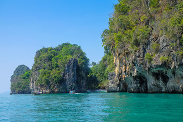 The limestone islands in the middle of the Andaman Sea.