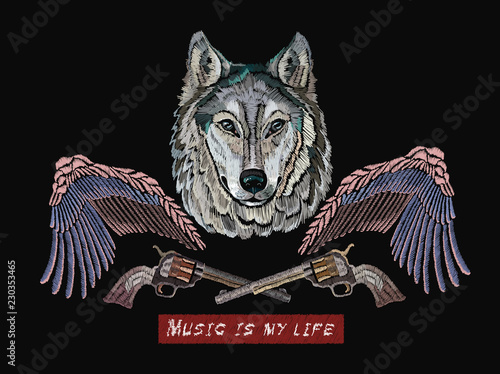 Photo sur Toile Croquis dessinés à la main des animaux Embroidery, rock music print. Wolf, wings and guns, classical music art template for clothes, textiles, t-shirt design