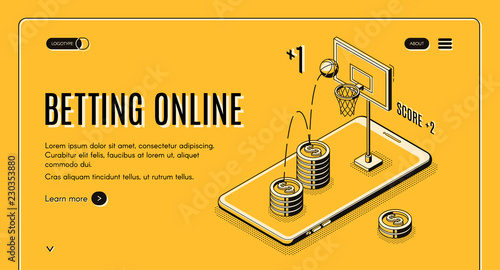 Foto Betting on sports online line art, isometric vector web banner or website template