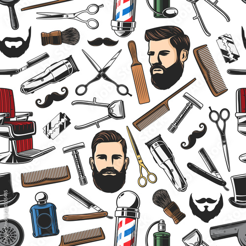 Barbershop shave and man haircut seamless pattern Canvas Print