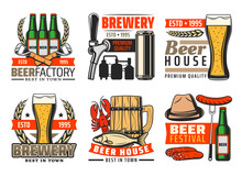 Beer Bar And Brewery Pub Vector Icons