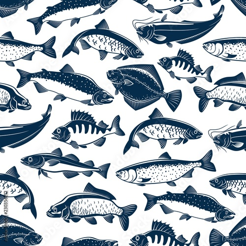 Fényképezés  Sea and ocean fishes seamless pattern background