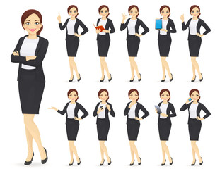 Fototapeta Businesswoman character in different poses set vector illustration