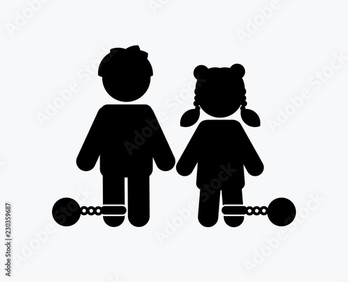 Fotografía Stop Child abuse ,Children with chain and ball icon graphic vector