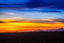 Dramatic Vibrant Sunset Scenery In Yuma, Arizona