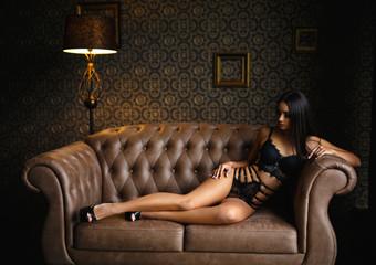 Fototapeta Perfect girl in a sexy black lingerie