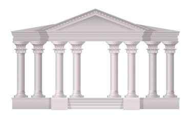 Antique White Columns Realistic Composition