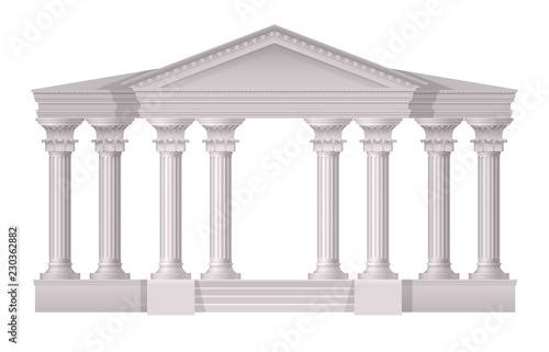 In de dag Bedehuis Antique White Columns Realistic Composition