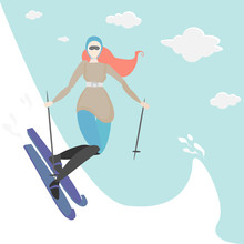 Ginger Young Woman Do Ski