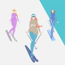 Women Do Ski, Creative Cartoon Funny Illustration