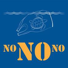 Плакат на синем фоне с концептуальной иллюстрацией на тему загрязнения океана с изображением плывущего полиэтиленового пакета и черепахи внутри него.