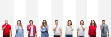 Collage Of Different Ethnics Young People Over White Stripes Isolated Background Asking To Be Quiet With Finger On Lips. Silence And Secret Concept.