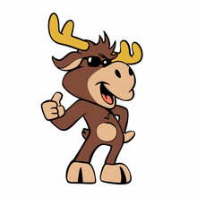 Funny Moose With Sunglasses Vector Illustration